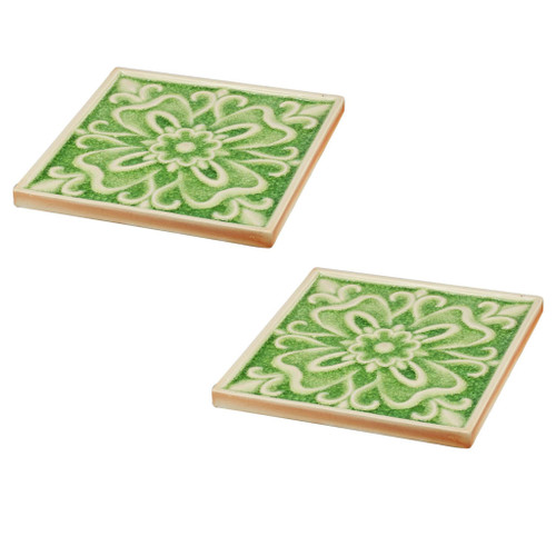 Set Of 2 Kelly Shamrock Ceramic Placemat/Plate 8x8""