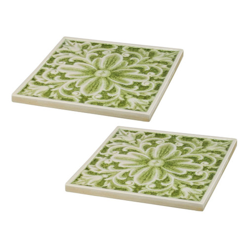 Set Of 2 Kelly Fleur Ceramic Placemat / Plate 10x10""