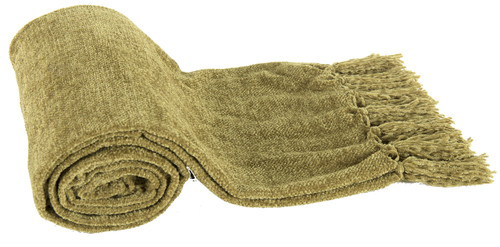 Micro Poly Chenille Throw Blanket, Green
