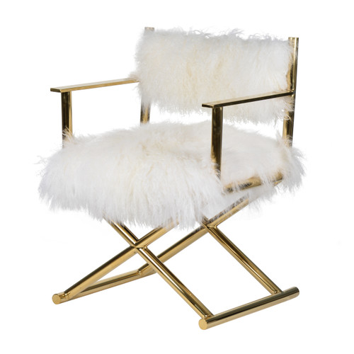 Pure decadence, The Mongolian Fur Director Chair is wonderfully soft and inviting. Dressed in fluffy white fur our Mongolian Fur Director Chair brings a dressing room or boudoir to life. Accented with gold architecture, the Mongolian Fur Director Chai