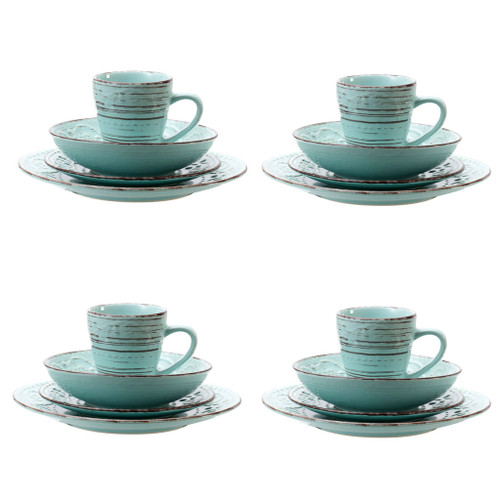 Rustic Fare Dinnerware Set Aqua Blue Set of 16