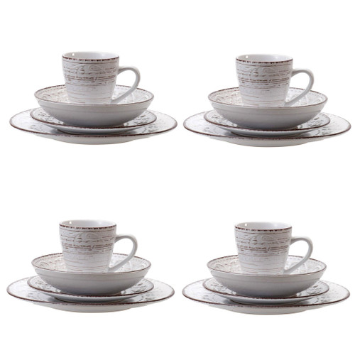 Rustic Fare Dinnerware Set Cream Set of 16