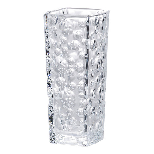 A classic tapered square silhouette makes this vase a modern mainstay for displaying flowers in your home. It's made of glass with a bubble pattern and is constructed beautifully to highlight the beauty of foliage and blooms. It looks right at home on any tabletop, from desks to the coffee table.