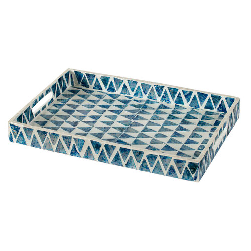 A large, decorative tray comes resplendent with a mosaic with pearl blue and white tiles arranged in a checkered pattern. It comes with side handles on each side for easy carrying. Decorate a coffee table or side table with this illustrious tray and let it complement your decor with its whimsical style.