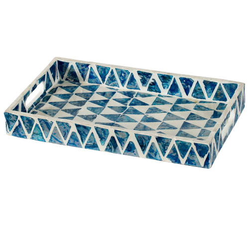 A small, decorative tray comes resplendent with a mosaic with pearl blue and white tiles arranged in a checkered pattern. It comes with side handles on each side for easy carrying. Decorate a coffee table or side table with this illustrious tray and let it complement your decor with its whimsical style.