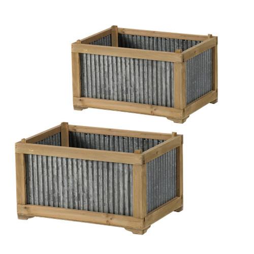 Fir Wood & Galvanized Planter Set Of 2
