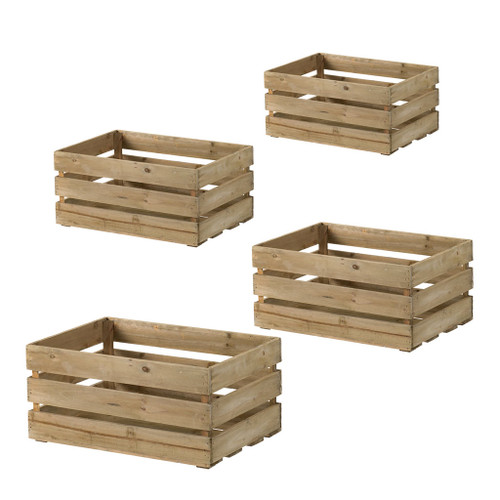 Wooden Crate Planters Set Of 4