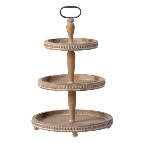 """Wooden 3-Tier Round Serving Tray D16.5X24.5"""""""