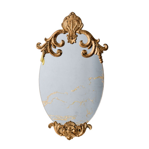 Antiqued Oval Wall Mirror 15x26""