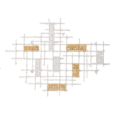 """Grid Patterned Geometric Wall Decor 32X1.5X24"""""""