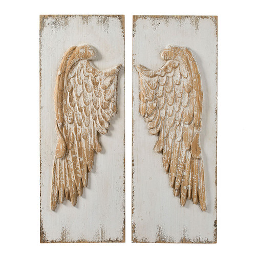 """Wing Wall Decor Wall Plaque 16x42"""" Set Of 2"""