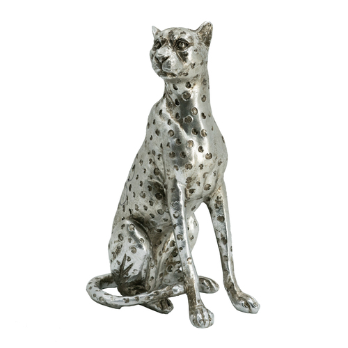 "Sitting Leopard Statue Table Decor 5x3.5x8.5"""