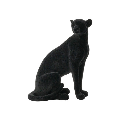 """Flocked Sitting Leopard Statue 7x4.5x8.5"""""""