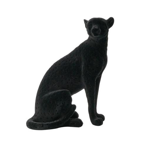 """Flocked Sitting Leopard Statue 8x5x11"""""""