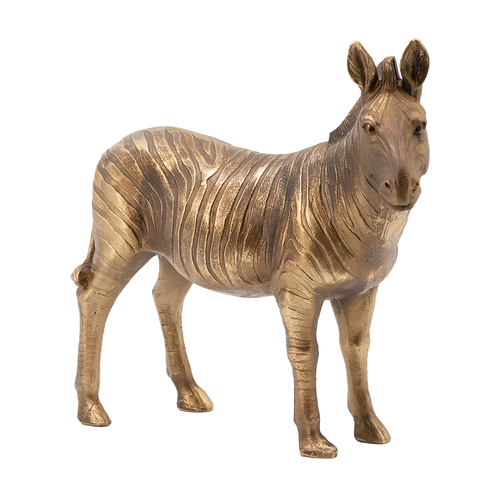 This handsome zebra statue is made with a metallic copper finish to create a standout modern tabletop accent. Made from a composite of stone powder and resin, it draws from the finest qualities of real marble with the added bonus of unmatched detail and precision design. It's an elegantly exotic touch for a variety of surfaces throughout the home.