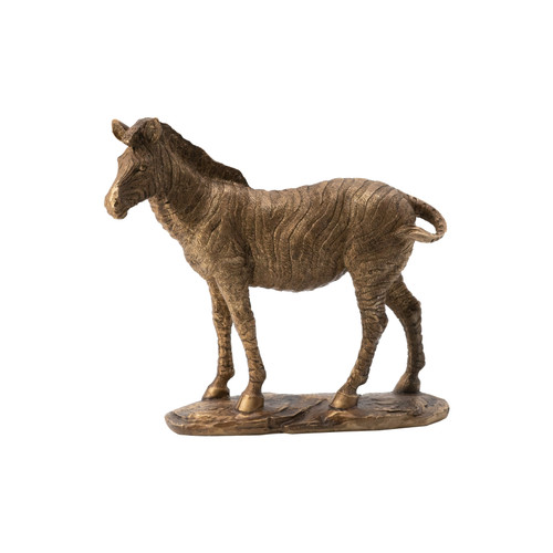 This metallic copper finish zebra statue is a modern favorite made from a stone powder and resin composite with eye-catching detailing. Made with a long base, it's a cool exotic touch that is perfectly suited for a variety of placements throughout the modern home. This statue adds a dash of your personality to console tables, countertops, and more.