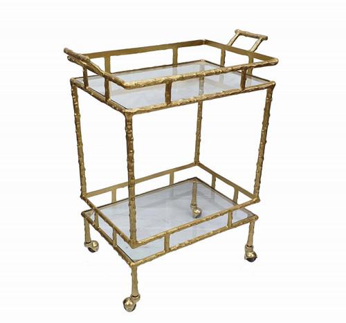 """Aluminum Twig Bar Cart 23.5x14x30"""""""