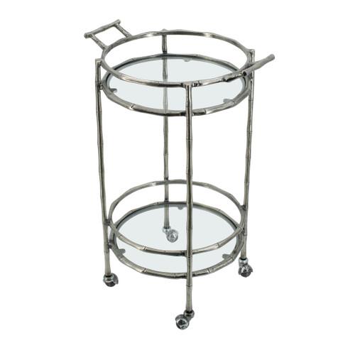 """Aluminum Bamboo 2 Tier Bar Cart 16x20x30"""""""
