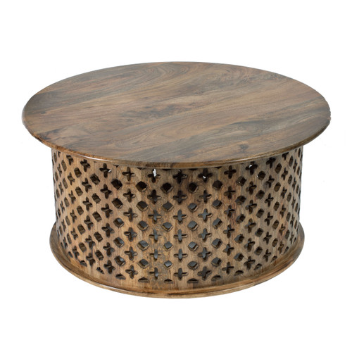 Jali Cutting Mango Wood Coffee Table Set Of 2 Brown