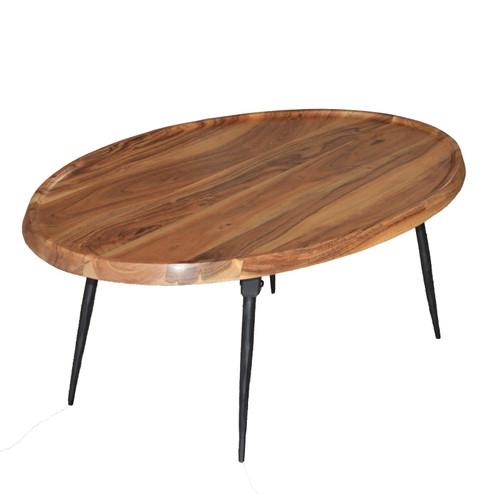 "Wood & Iron Oval Coffee Table 39x26x16"""