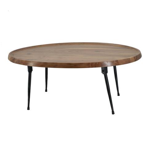 "Wood & Iron Oval Coffee Table 31x21x12"""