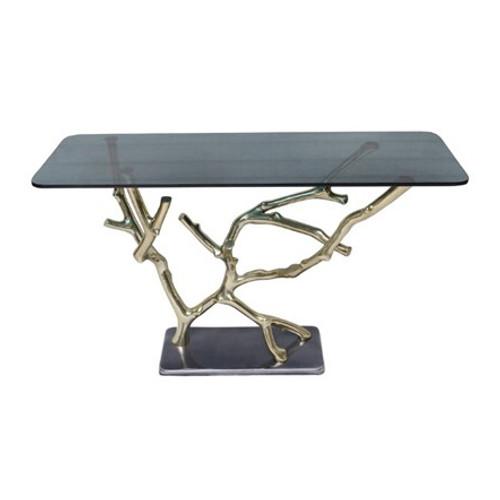 "Aluminum & Glass Console Table 47x16x28"""