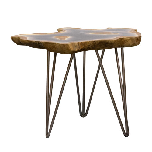 """Resin & Iron Side Table 19.5x19.5x17.5"""""""