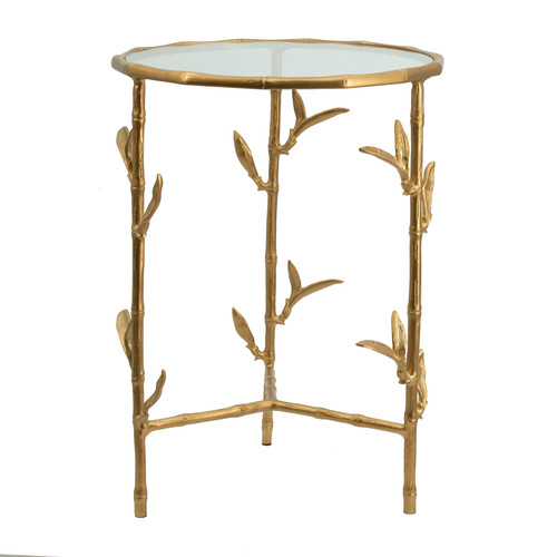 "Aluminum Bamboo Leaf Side Table 17x17x23.5"""