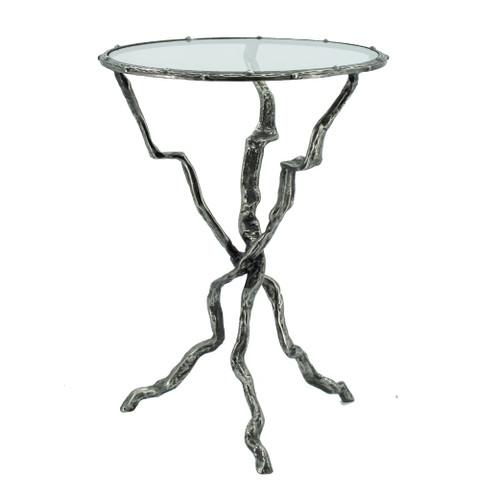"Aluminum Twig Cross Side Table 17x17x23.5"""
