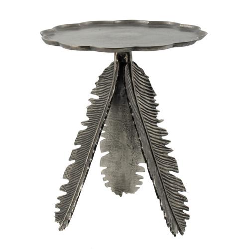 "Aluminum Leaf Side Table 17x17x19.5"""