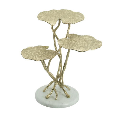 Made of aluminum with a white marble base, this three-tiered end table comes in Natural-inspired design elements. An appealing gold finish lends glamorous contrast to this piece. Ideal for displaying knick-knacks and mementos in the living room, place this piece next to your furniture set to instantly liven up the room.