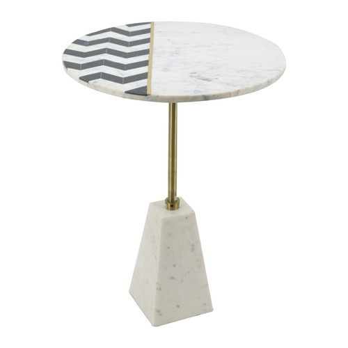 Brass Inlay W Pattern Marble Table 18x24""