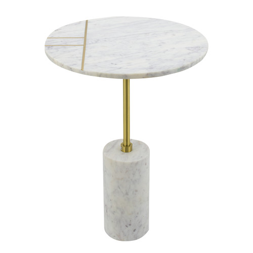 Brass Inlay Round Marble Table 15x17.5x21.5""