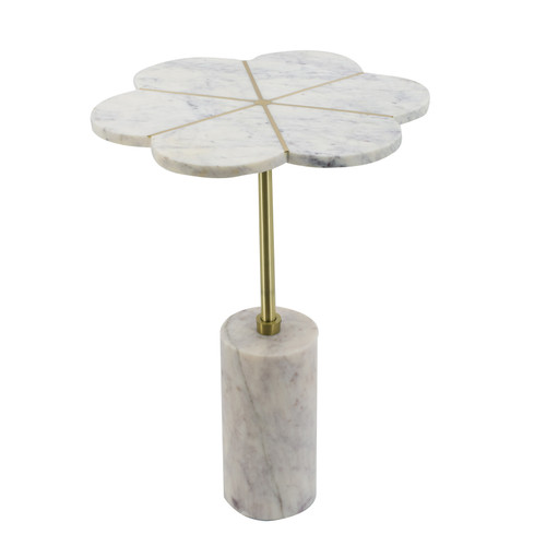 Brass Inlay Flower-Shaped Marble Table 15x18x22""