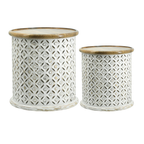 Jali Cutting Mango Wood Side Table Set Of 2 White