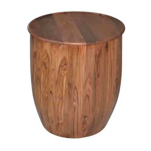 Drum Wood Side Table w/ Tray Style Top D22x25""