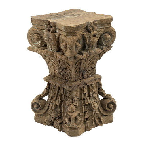 Carved Wood Pillar Base Stool 12x12x18.5""