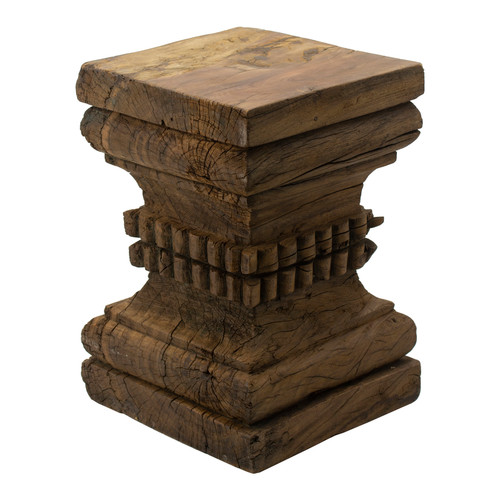 Carved Wood Plain Pillar Base Stool 13x13x20""