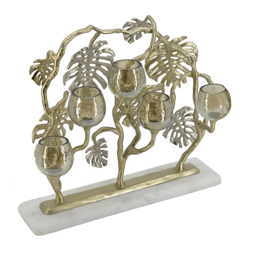 This multi tea-light holder is finished in gold with silver plating on its aluminum frame. To accent its elegance, it also features textured smoke luster glass for a unique light effect, not to mention its white marble base. The whole composition creates a distinctly contemporary feel that can't be matched.