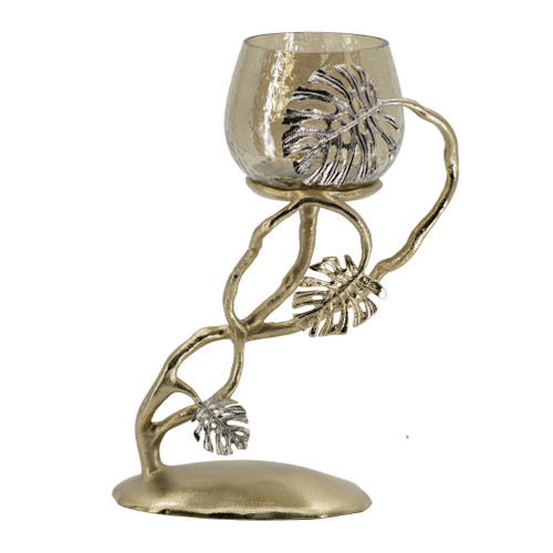 This palm pillar candle holder is a silver plated aluminum candle stand with a textured smoke luster glass hurricane. It combines complex forms, a natural inspiration paired with mixed materials, to create a powerful modern look for the living room or dining room table. Once you add a calendar, you create a new look unlike any other.