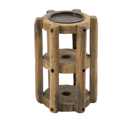 This loom candle stand uses a replica traditional wooden loom piece to display a single candle with rustic charm. With its rounded design and tall profile, itÂ's a pillar candle stand that looks and feels sturdy. It's a brilliant statement piece that effortlessly connects with vintage industrial decor.