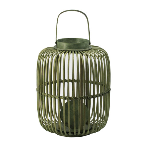 """Bamboo Candle Lantern With Handle D13x17"""""""