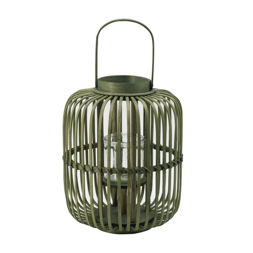 """Bamboo Candle Lantern With Handle D12x14"""""""