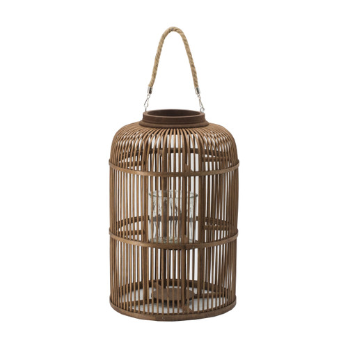 Bamboo Candle Lantern With Handle D12.5x19""
