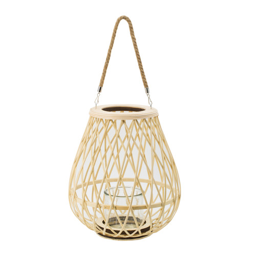 This cool understated lantern features a natural bamboo weave that houses a simple glass hurricane center and hangs from a hemp rope handle. When displayed over breakfast nook tables or hung in the corner of your cabin to create a focal point, it's a stylish boho touch that can't be topped. Add this medium sized touch to anywhere that needs a chill vibe.