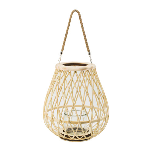Bamboo Candle Lantern w/ Rope Handle D13x14.5""