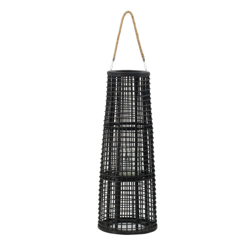 Rattan Tapered Candle Lantern w/ Handle D11x29""