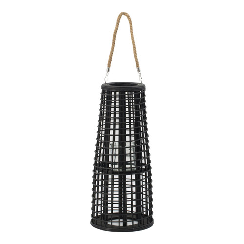 Rattan Tapered Candle Lantern w/ Handle D9.5x21""