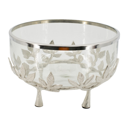 This striking glass bowl with ring and floral stand is centered around a beautiful clear glass bowl that's housed in a nickel finish metal frame. A vintage inspired piece for the ages, this bowl features a delightful set of floral accents in metal to give it a genuine antique look. It makes for a stylish and smart centerpiece for any home.