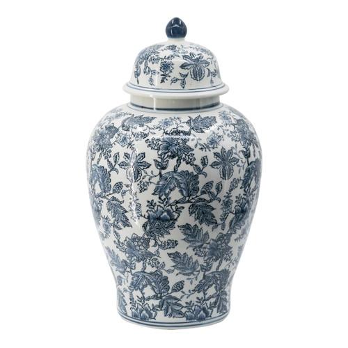 """Chinoiserie Blue White Porcelain Ginger Jar 13x23"""""""